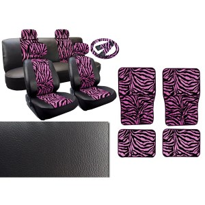 Pink Zebra Leatherette 13pc Full Car Seat Cover 4pc Mats Full Interior