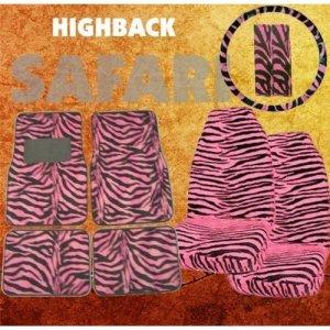 9pc Safari Pink Zebra Print Car Mats, High Back Seat Covers, Steering