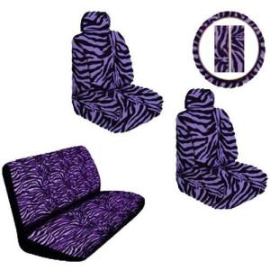 Purple Zebra Print Safari Stripes Car Truck SUV Seat Covers Gift Set