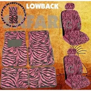 11pc Safari Pink Zebra Print Car Mats, Low Back Seat Covers, Steering