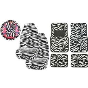 9Psc Safari Animal Print Auto Interior Gift Set Zebra Seat Covers