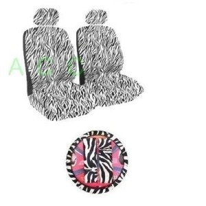 7Psc Safari Animal Print Auto Interior Gift Set Zebra Back Seat Covers
