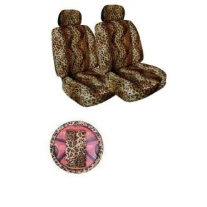 7Psc Safari Animal Print Auto Interior Gift Set Leopard Seat Covers