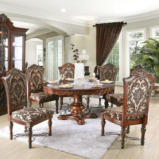round dining chairs sixbros office swivel chair grey fabric buy kitchen room sets online at overstock com our furniture of america tifanil brown cherry finish 7 piece wood set