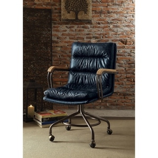 harith high back leather executive chair the health shop acme office antique ebony top grain vintage blue