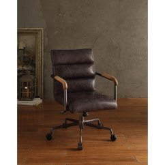Harith High Back Leather Executive Chair Small Lounge Shop Acme Office Antique Ebony Top Grain