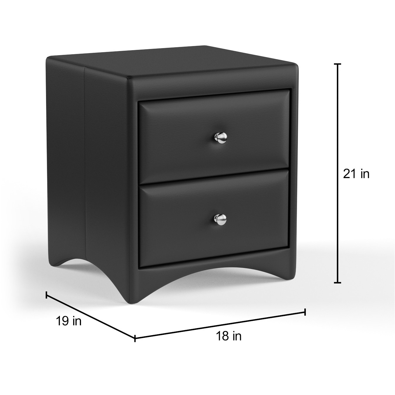 Baxton Studio Dorian Black Faux Leather Upholstered Modern Nightstand