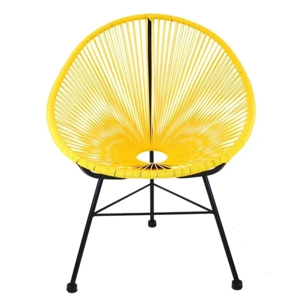 black metal patio chairs hanging chair at sam's shop acapulco yellow plastic with base free shipping today overstock com 19431164
