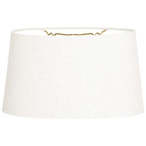Royal Designs Shallow Oval Hardback Lamp Shade, Linen White, 14 x 16 x 9