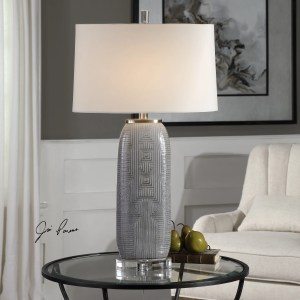 Uttermost Ravi Brushed Nickel Grey Patterned Table Lamp