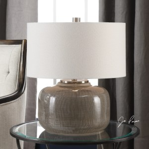 Uttermost Dhara Brushed Nickel Grey Glaze Table Lamp