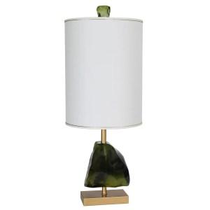 Van Teal Naples Goldtone/Green Metal 39-inch Table Lamp with Beige Linen Shade