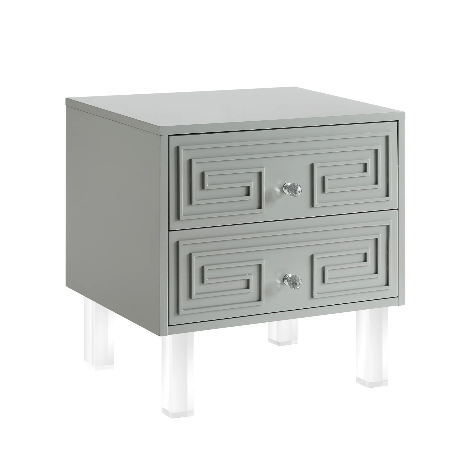 Wolf Lacquer Nightstand Side Table Accent Table Greek Key Design Acrylic Legs
