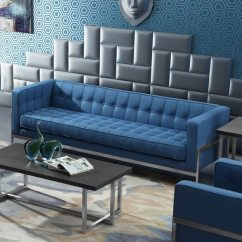 Andre Sofa Milano Leather 2 Piece Chaise Sectional Shop Armen Living In Stainless Steel And Blue Fabric On
