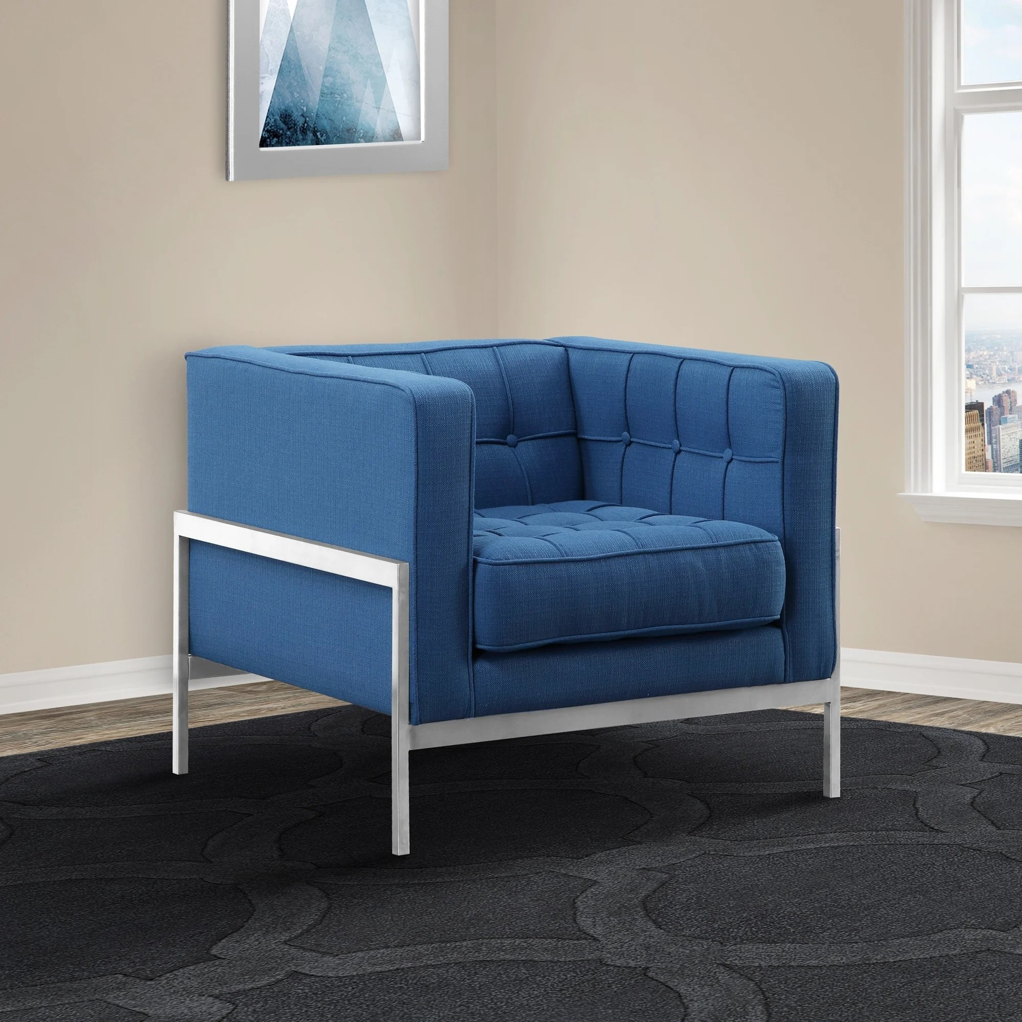 Andre Lcan1blue Contemporary Sofa Chair Blue Fabric Armen