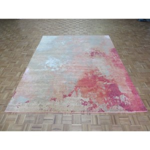 "Hand Knotted Multi Colored Modern with Wool & Silk Oriental Rug - 7'11"" x 10'"