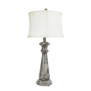 "32"" Tall Marble Table Lamp ""Lummelunda"" with Taupe Gray finish, White Linen Shade"