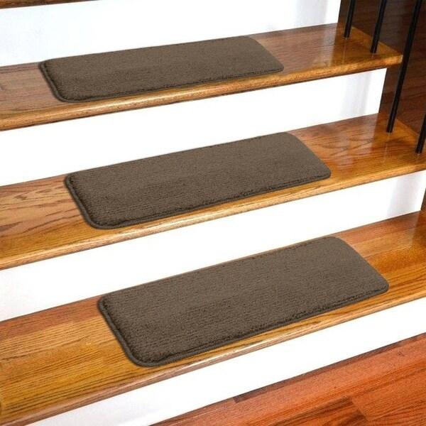 Shop Ottomanson Comfort Collection Soft Sh*G Solid Design Stair   Plush Carpet Stair Treads   Dog Cat Pet   Iron Frost   Carpet Runners   True Bullnose Carpet   Bullnose