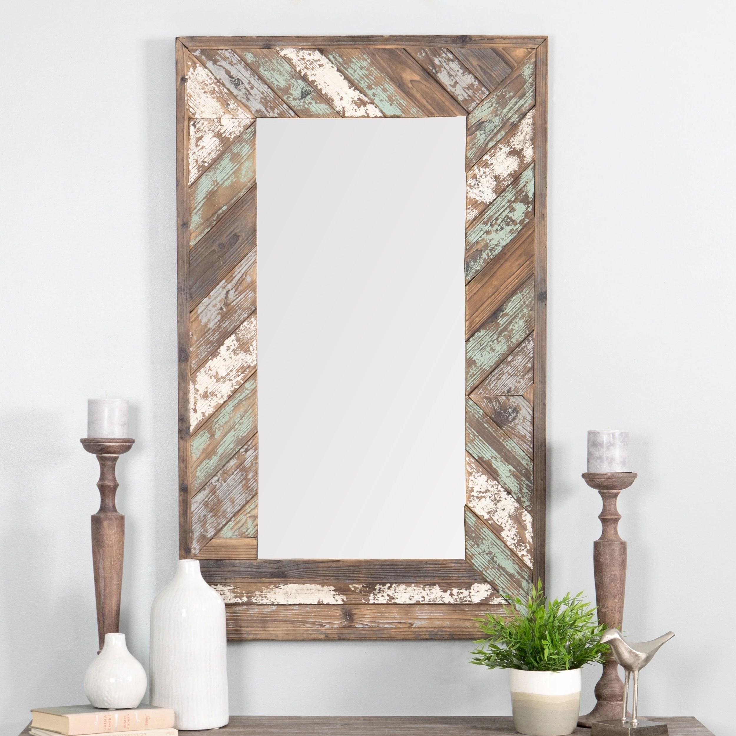 brogan distressed wood slat wall mirror 43 5 h x 26 5 w x 1 5 d mirror 31 5 h x 15 w