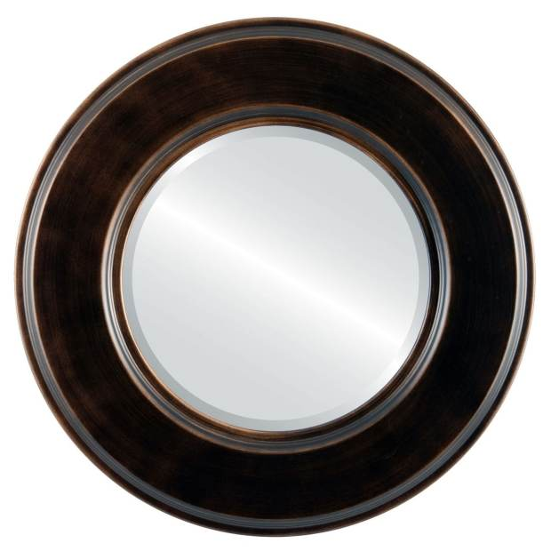 Marquis Framed Round Mirror in Rubbed Bronze - Antique Bronze