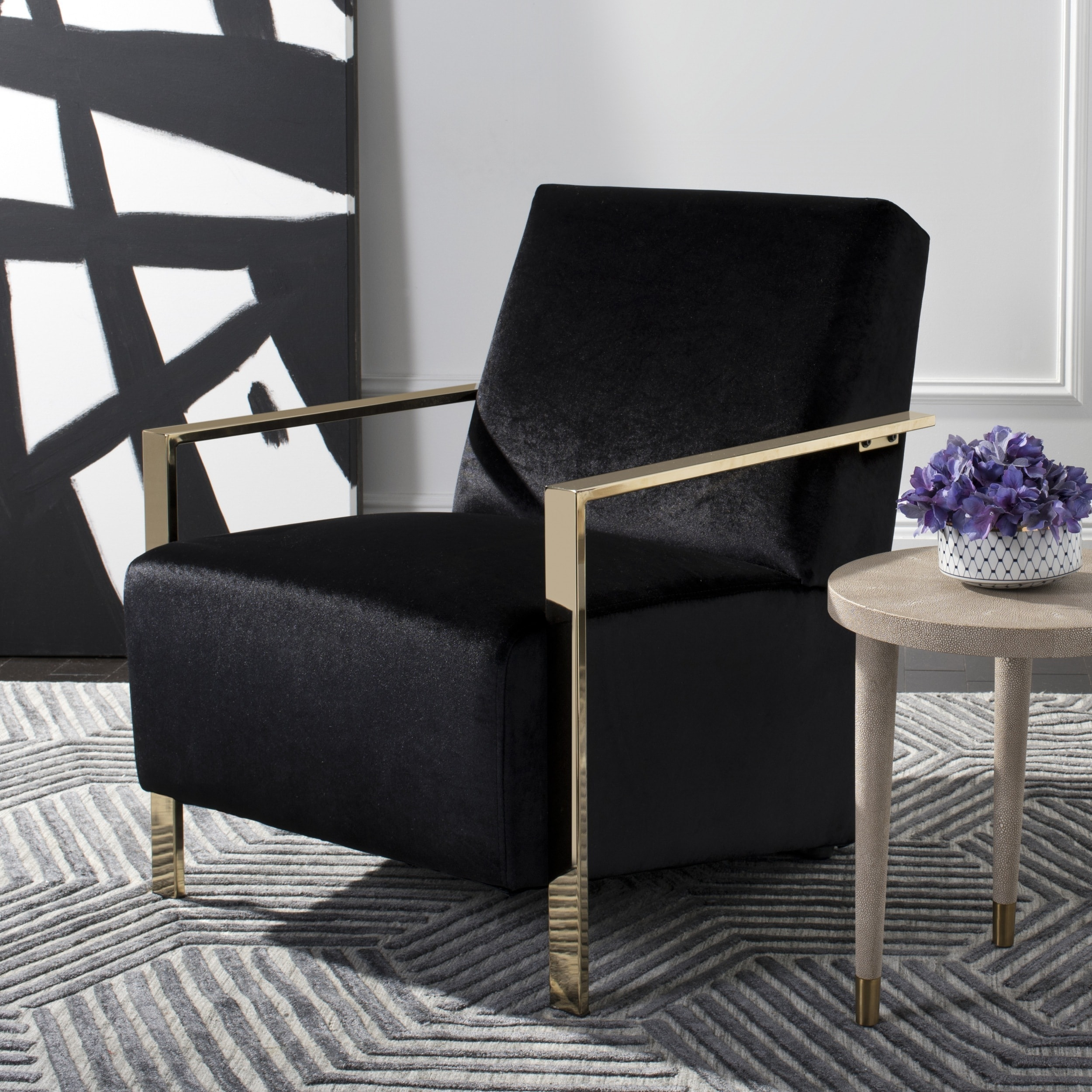 brookstone bungee chair where to nail rail black accent chairs fabric oliver