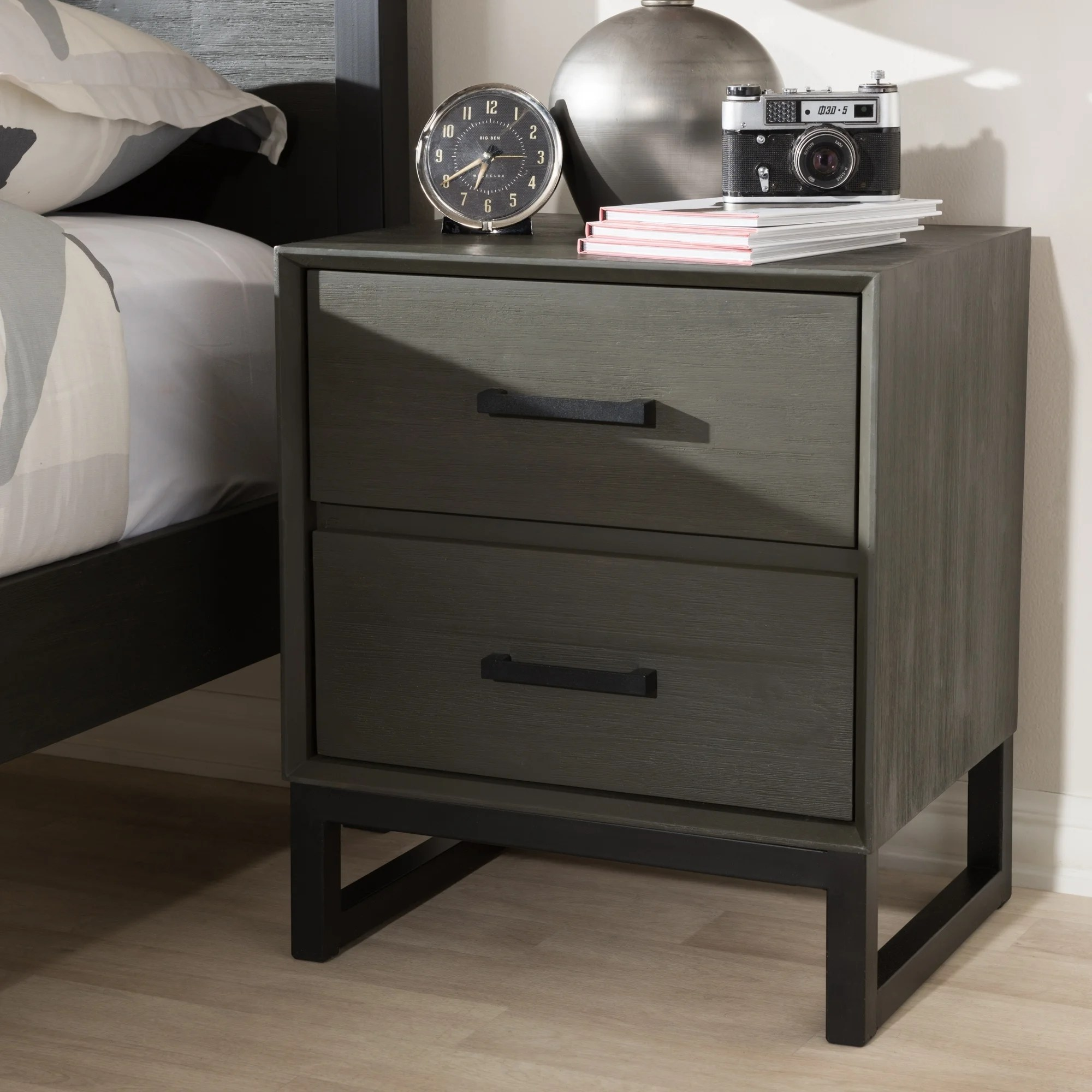 rustic grey wood and black metal 2 drawer nightstand by baxton studio