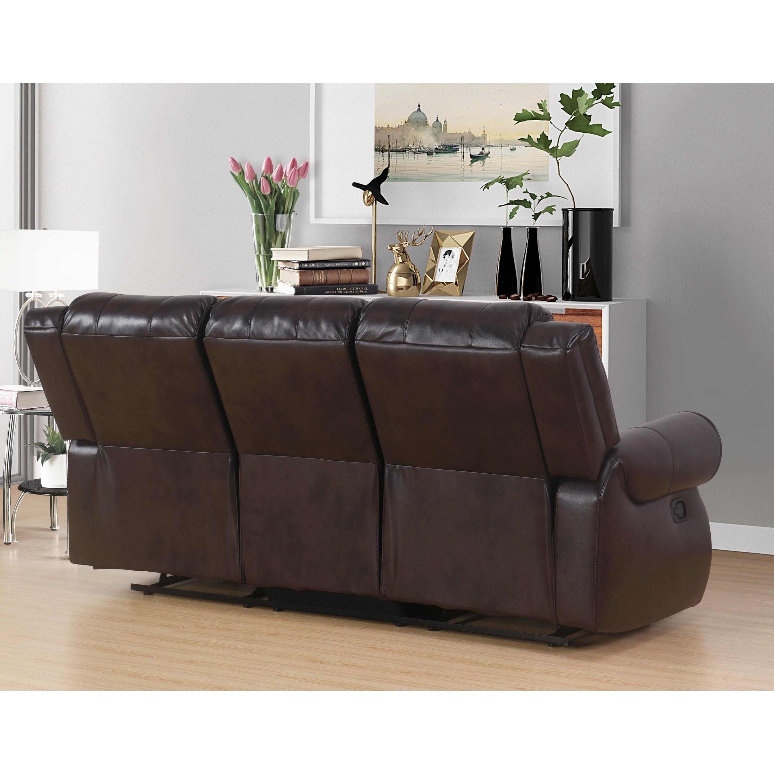 abbyson living bradford faux leather reclining sofa dark brown norwalk colton sectional