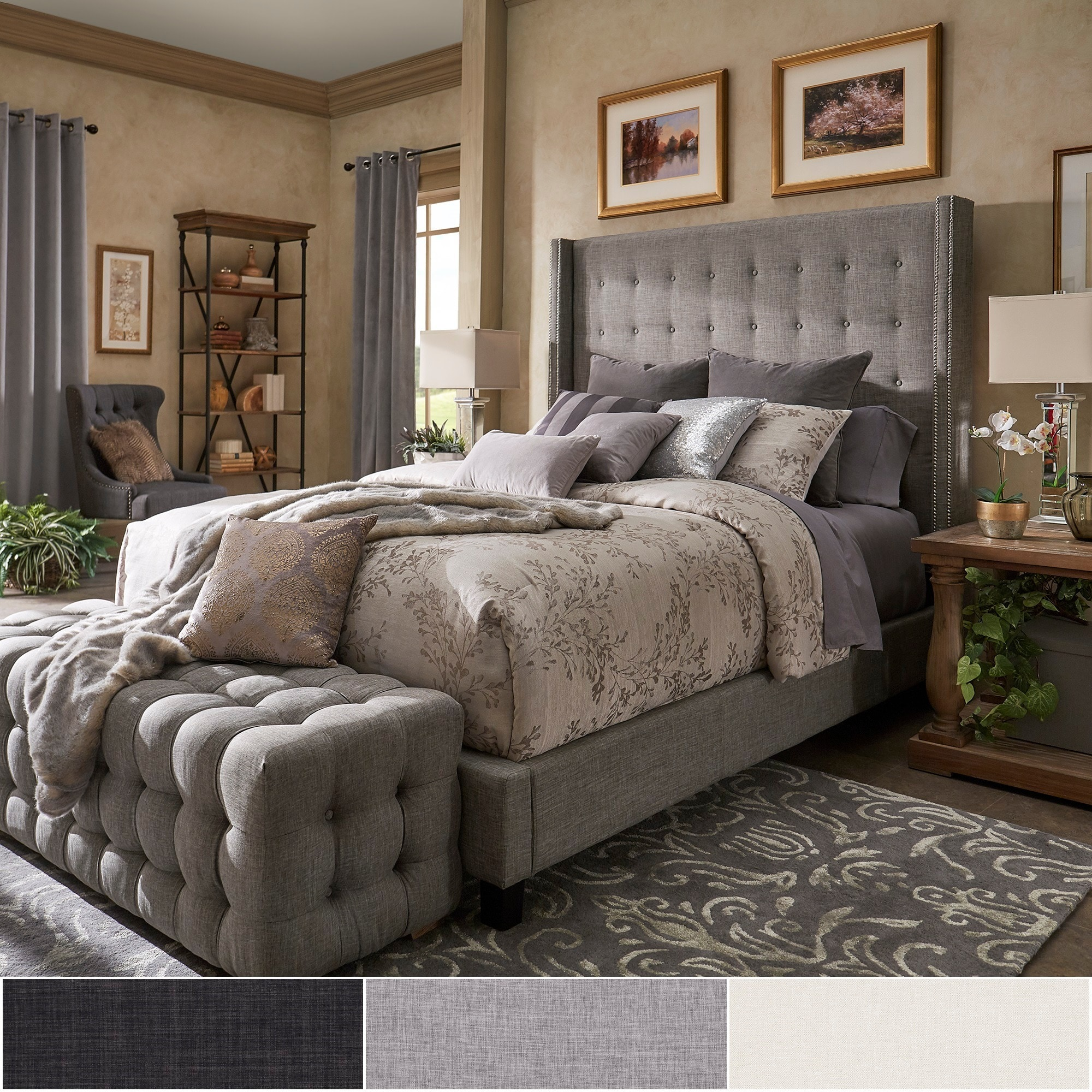 Shop Black Friday Deals On Marion Nailhead Wingback Tufted Tall Headboard Platform Bed By Inspire Q Bold Overstock 19511257