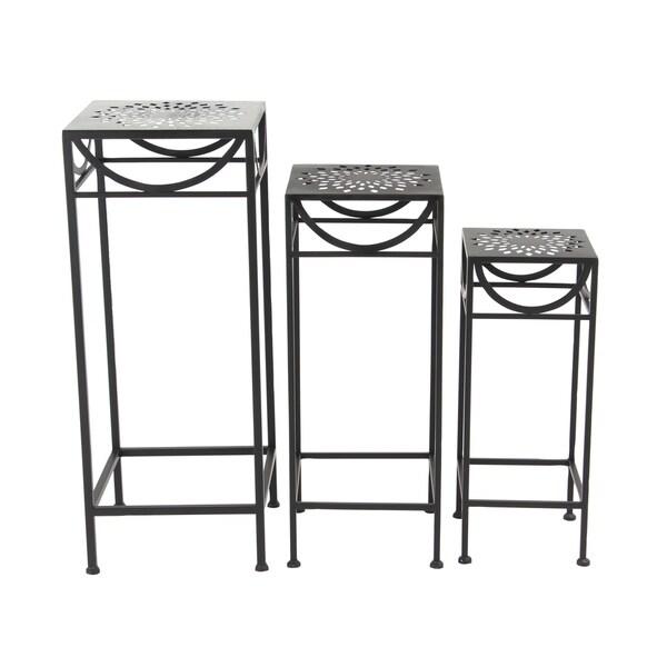 Shop Set of 3 Modern Black Iron Pierced Top Design Square