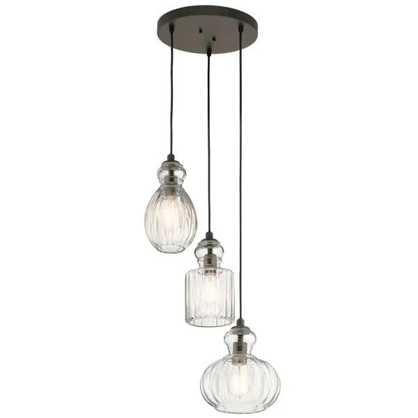 kichler lighting riviera collection 3 light olde bronze pendant