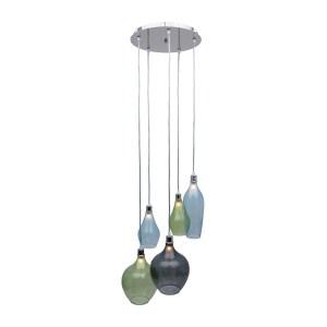 Bareat Chrome Metal and Glass 5-light Pendant - Multi-color