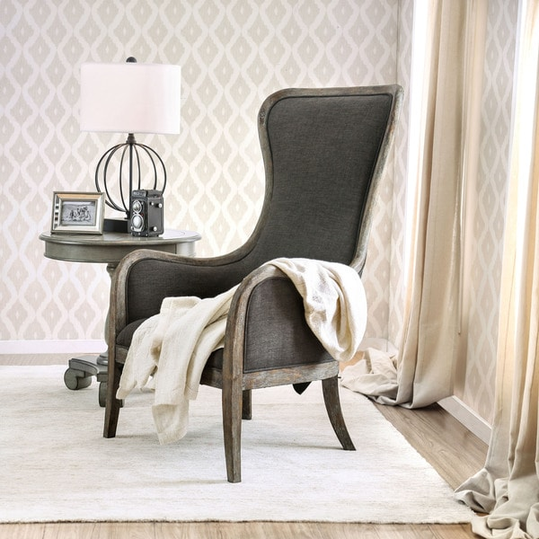 accent wingback chairs what size exercise ball for chair shop furniture of america lysa grey linen shabby chic on sale free shipping today overstock com 19568496