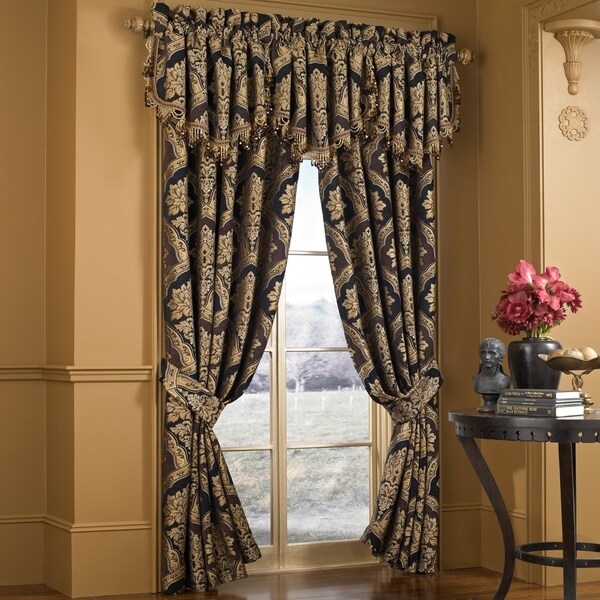 five queens court reilly woven chenille damask luxury curtain panel pair 50 w x 84 l 50 w x 84 l