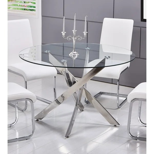 round glass kitchen table modern and chairs shop best master furniture t01 dining silver