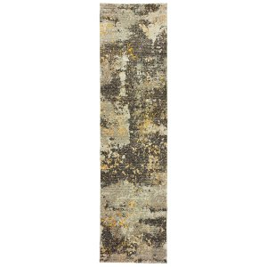 "Style Haven Marbled Stone Grey/Goldtone Nylon Area Rug (2'3 x 8') - 2'3"" x 8'"