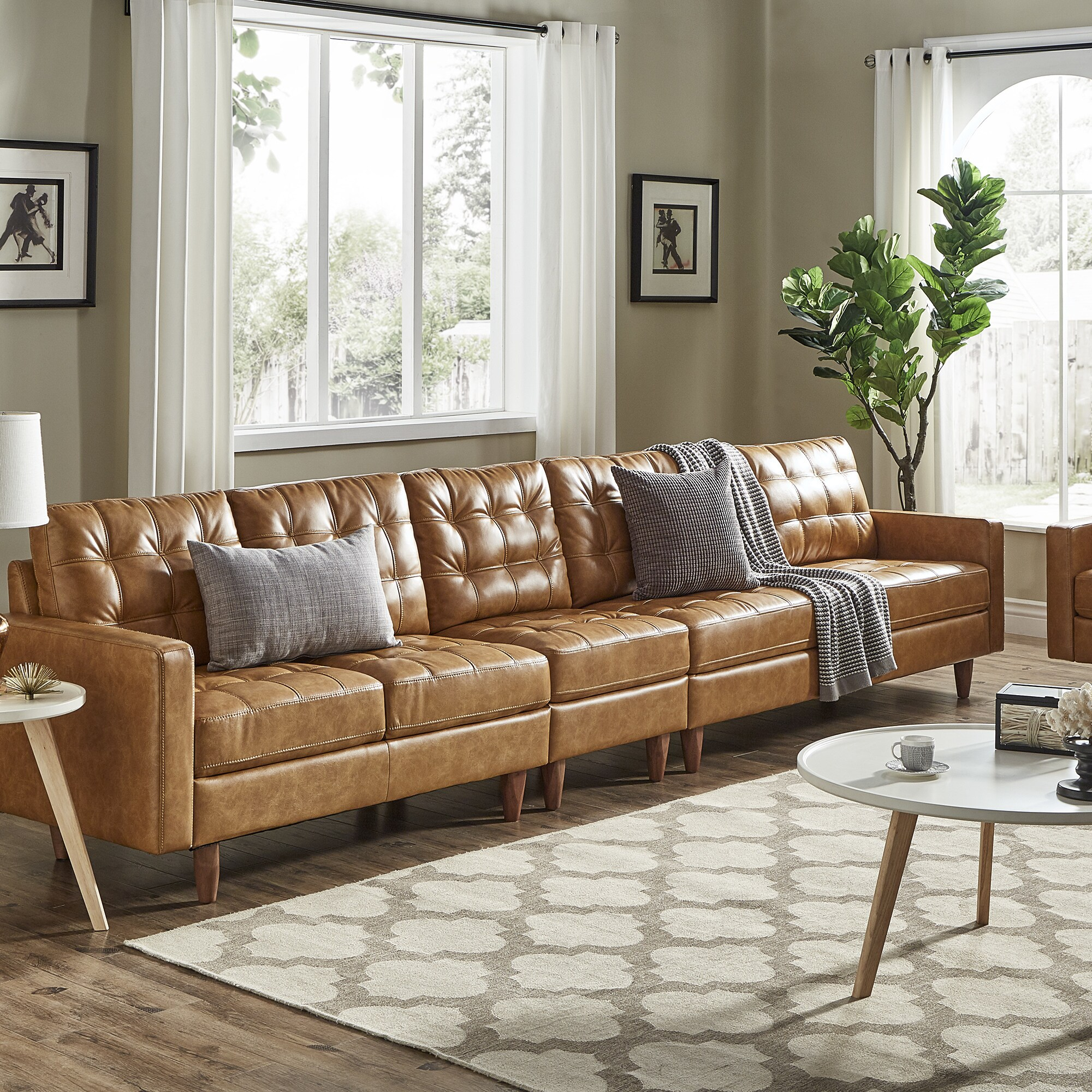 odin caramel leather gel extra long sofas by inspire q modern
