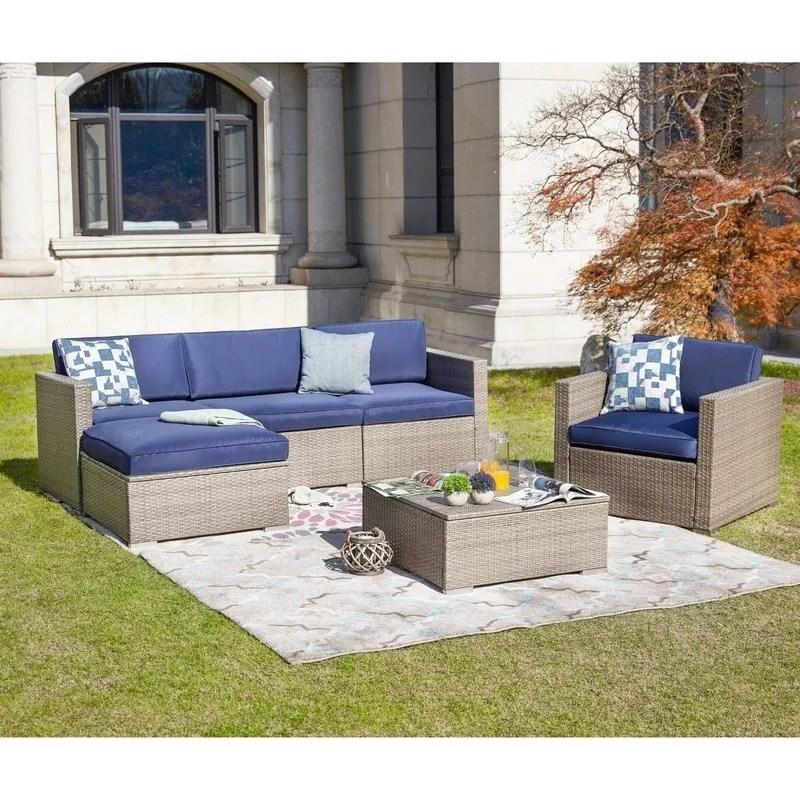 patio festival 6 piece outdoor sectional sofa set w cushions