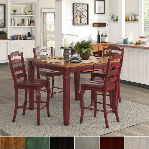 red counter height dining chairs amish made rocking chair cushions shop elena berry extendable set with french ladder back by inspire q classic