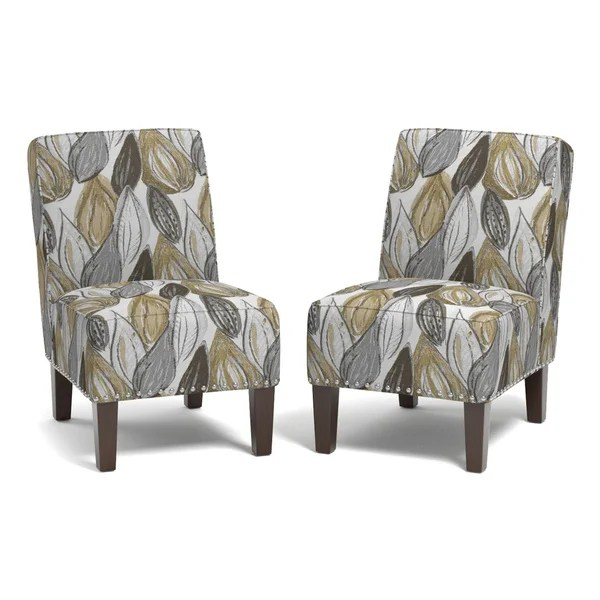 yellow chairs for sale lounge pool shop handy living brayden leaf set of 2 armless on