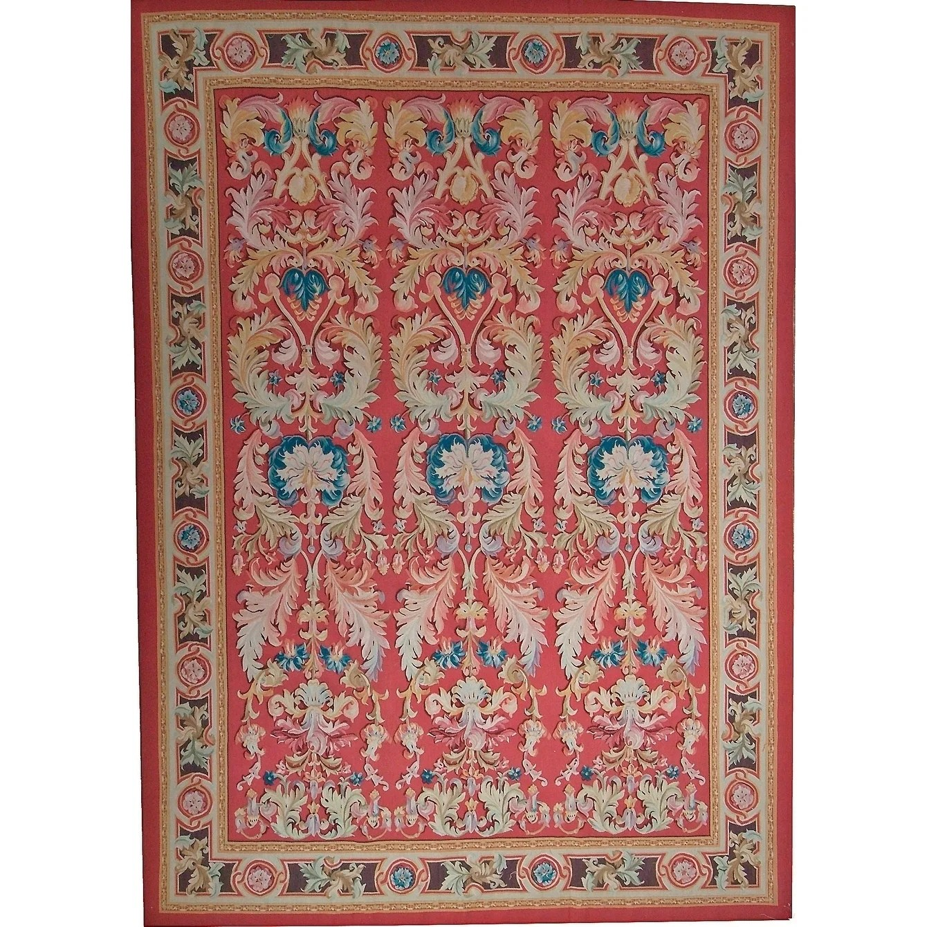 "Pasargad Aubusson Red Hand-Woven Wool Area Rug (10'11"" X 16' 3"")"