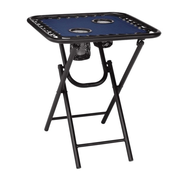 Shop Living Accents Bungee Folding Table Blue  On Sale