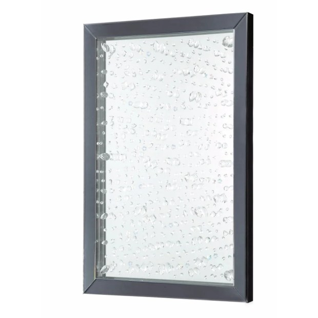 Rain Droplet Patterned Glass Accent Mirror, Silver And Black - Silver and Black
