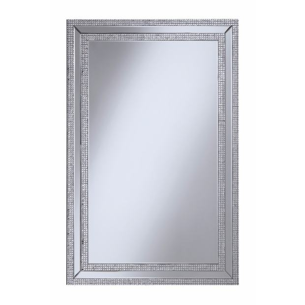 Glamorously Styled Wall Mirror With Jeweled Frame, Silver