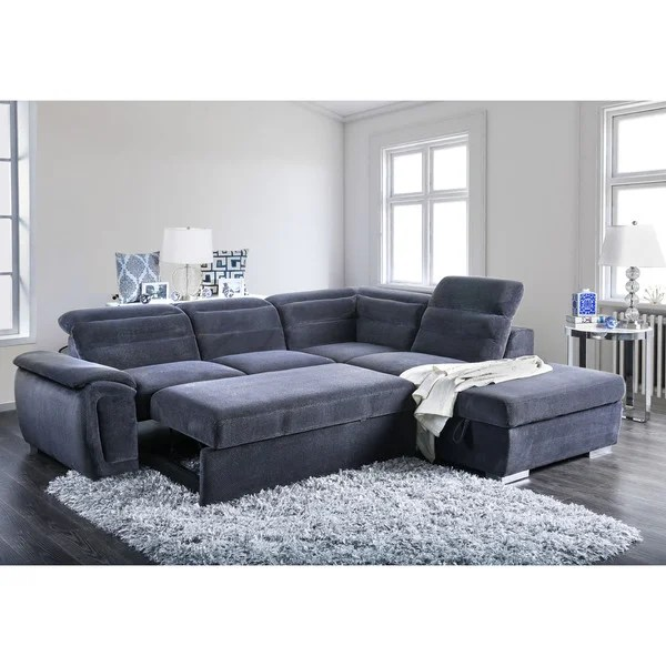 convertible sofa bed sectional kanes shop furniture of america alina contemporary 2 piece chenille sleeper with ottoman