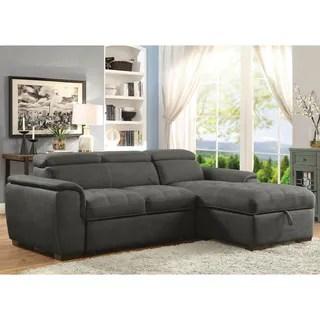 aspen convertible sectional storage sofa bed royal blue fabric linden tan microfiber / ...