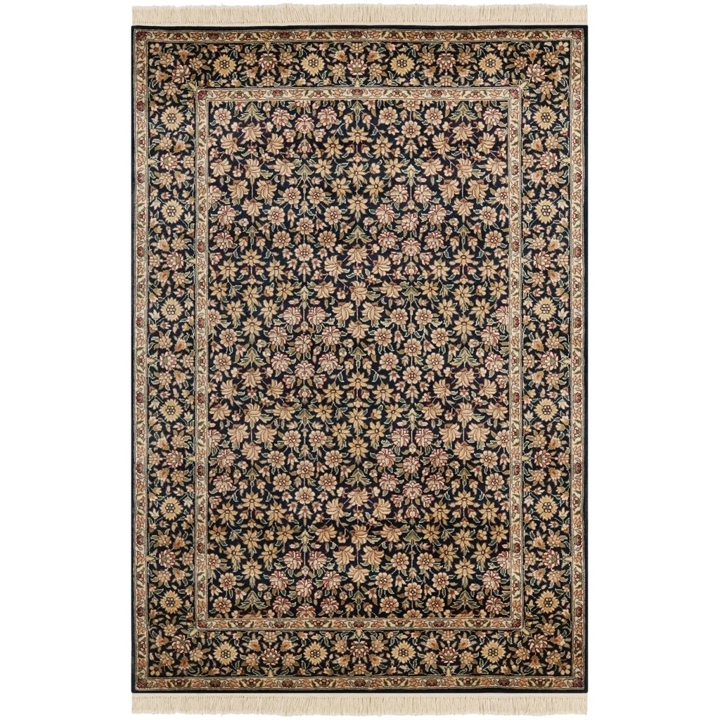 Safavieh Couture Hand-Knotted Royal Kerman Traditional Navy / Multi Wool Rug - 4' x 6'