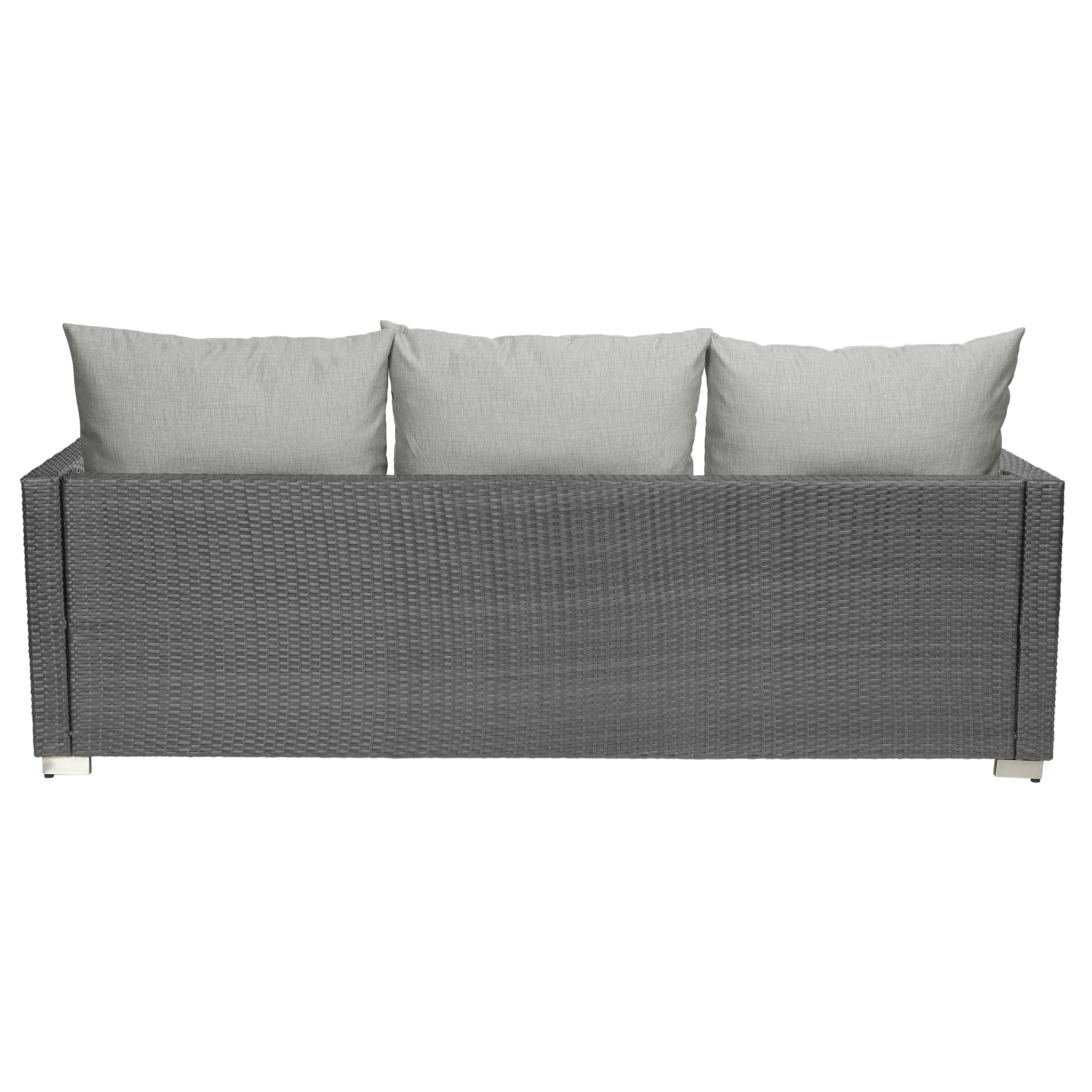 oxford 4 piece brown rattan effect sofa set small for bedroom sitting area 3 seater grey with taupe cushions