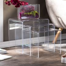 Acrylic Nesting End Tables Set Of 3 - Free Shipping