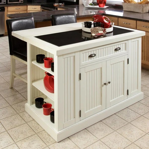 distressed kitchen island built in garbage cans shop copper grove willis white board with drop leaf breakfast bar