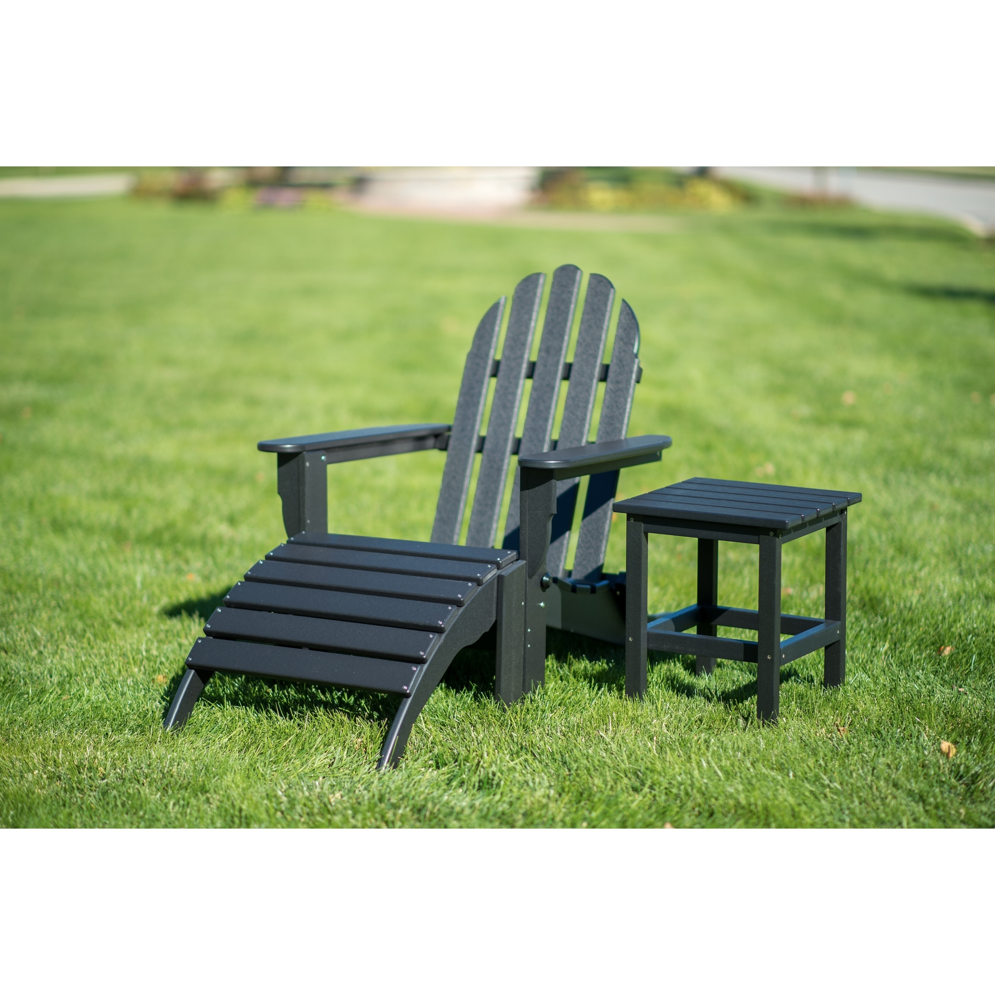 Adirondack Chair Set Details About Wyndtree 3 Piece Recycled Plastic Folding Adirondack Chair With Ottoman And Side